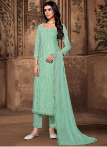 Sea Green Georgette Pant Style Suit