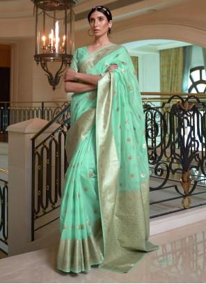 Sea Green Handloom silk Weaving Traditional Designer Saree