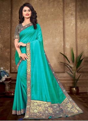 Sea Green Lace Ceremonial Designer Traditional Saree