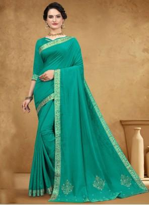 Sea Green Lace Silk Casual Saree