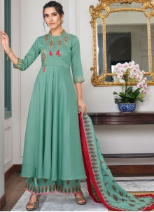 Sea Green Maslin Silk Embroidered Designer Palazzo Salwar Suit