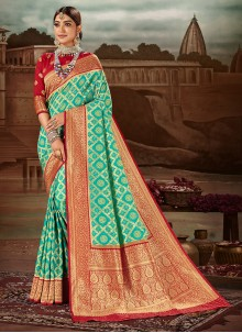 Sea Green Mehndi Traditional Designer Saree
