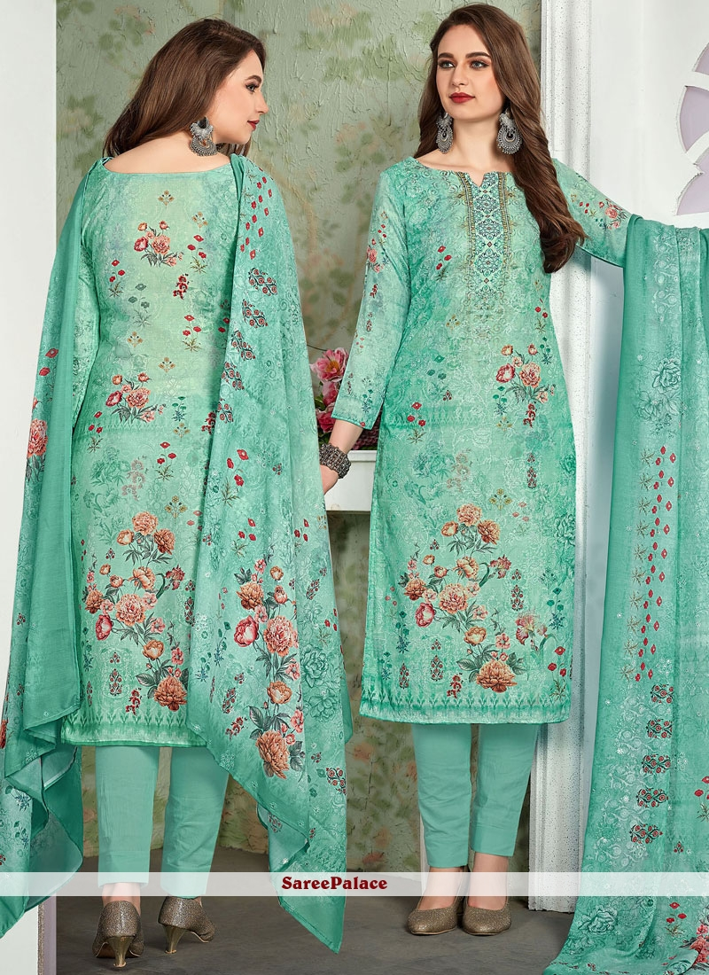 Sea Green Muslin Embroidered Pant Style Suit