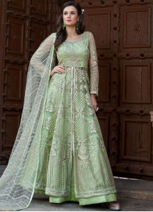 Sea Green Net Long Choli Lehenga