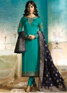 Sea Green Party Georgette Satin Pant Style Suit