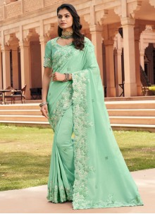Sea Green Party Georgette Traditional Saree