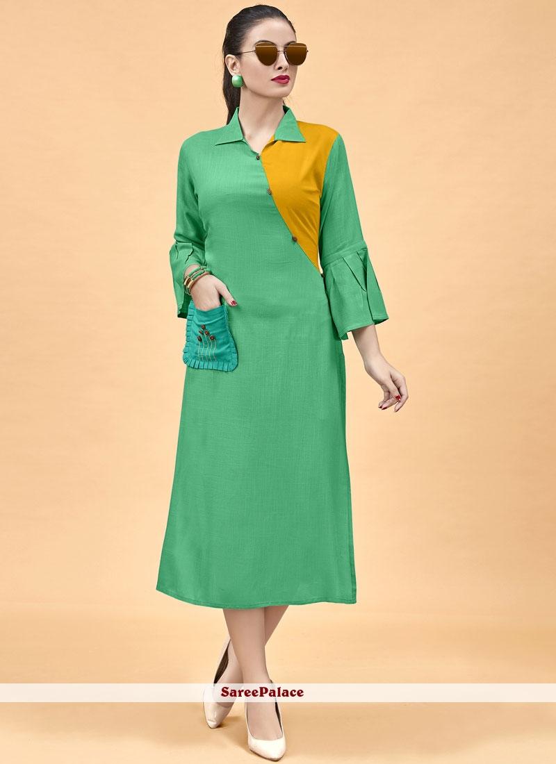 Sea Green Party Wear Kurti