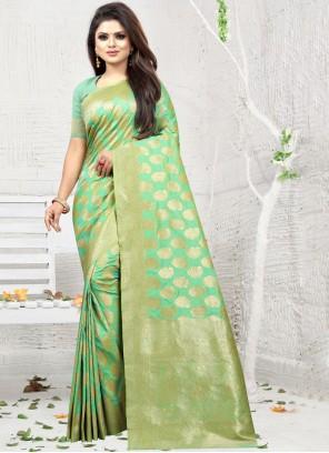 Sea Green Party Silk Saree