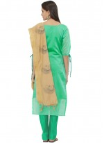 Sea Green Print Churidar Suit
