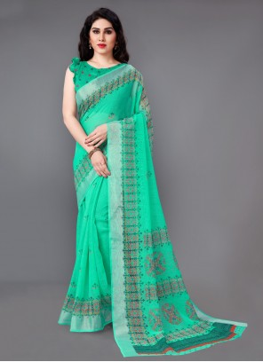 Sea Green Printed Casual Saree