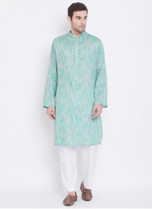 Sea Green Printed Cotton Kurta Pyjama