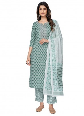 Sea Green Printed Cotton Readymade Suit