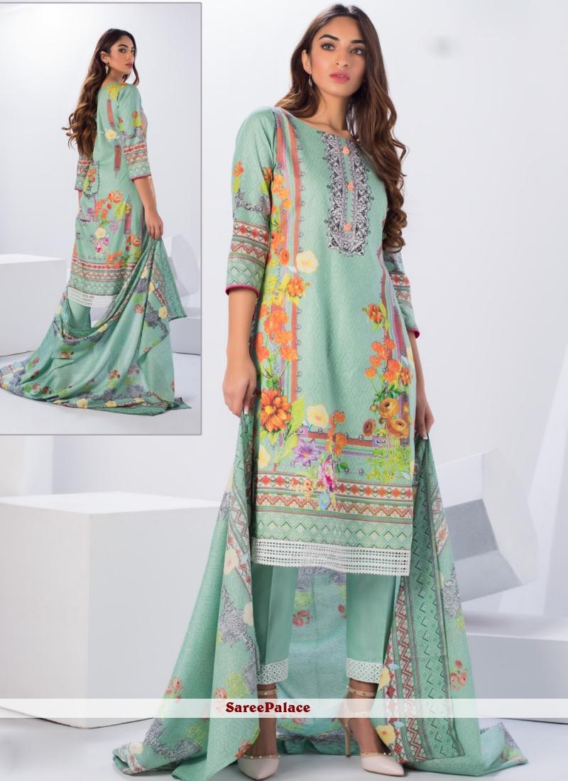 Sea Green Printed Cotton Salwar Suit