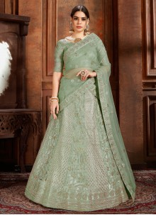 Sea Green Reception Net Designer Lehenga Choli