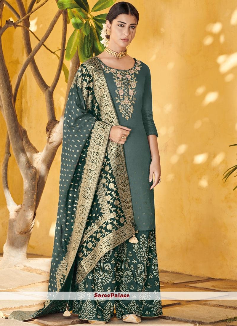 Sea Green Resham Art Silk Designer Pakistani Suit