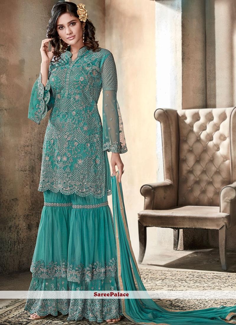 Sea Green Resham Designer Pakistani Suit