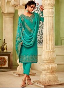 Sea Green Resham Festival Pant Style Suit