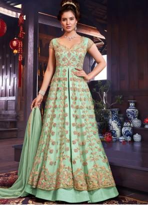 Sea Green Resham Floor Length Anarkali Suit