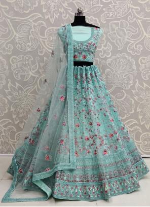 Sea Green Resham Net Designer Lehenga Choli