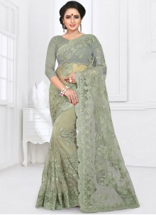 Sea Green Resham Party Saree