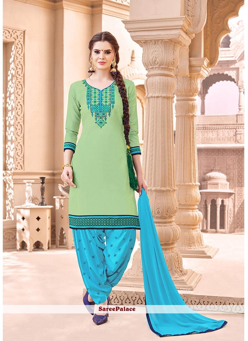 Sea Green Resham Work Punjabi Suit