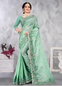 Sea Green Satin Designer Saree