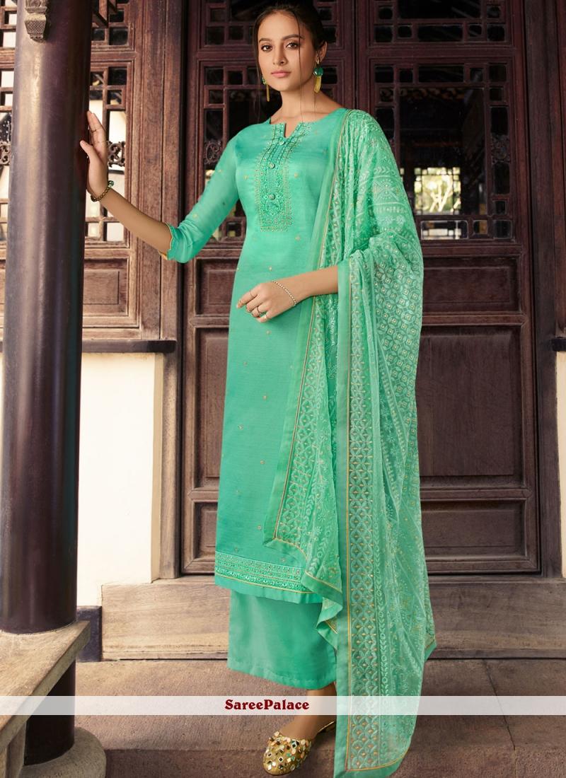Sea Green Silk Ceremonial Designer Palazzo Suit