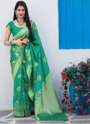 Sea Green Silk Contemporary Saree