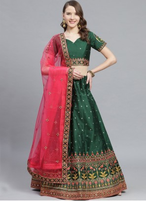 Sea Green Silk Embroidered Bollywood Lehenga Choli