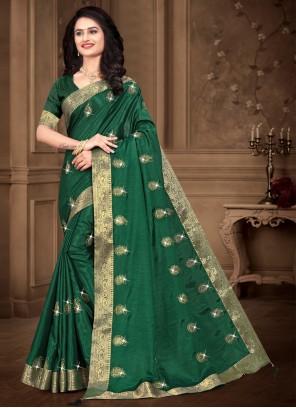 Sea Green Silk Embroidered Contemporary Saree