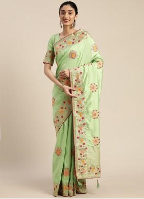 Sea Green Silk Embroidered Designer Traditional Saree
