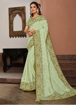 Sea Green Silk Mehndi Designer Traditional Saree