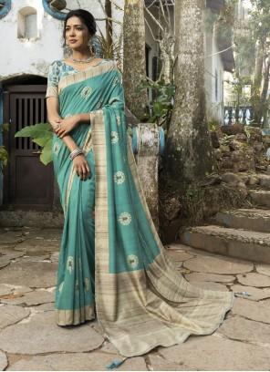 Sea Green Silk Traditional Saree