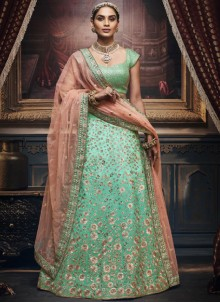 Sea Green Silk Trendy Designer Lehenga Choli