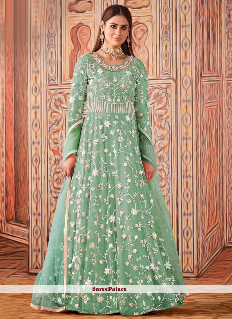 Sea Green Thread Net Floor Length Designer Suit