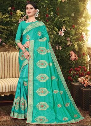 Sea Green Vichitra Silk Designer Traditional Saree