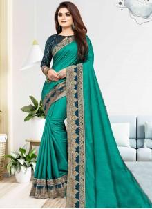 Sea Green Vichitra Silk Traditional Saree