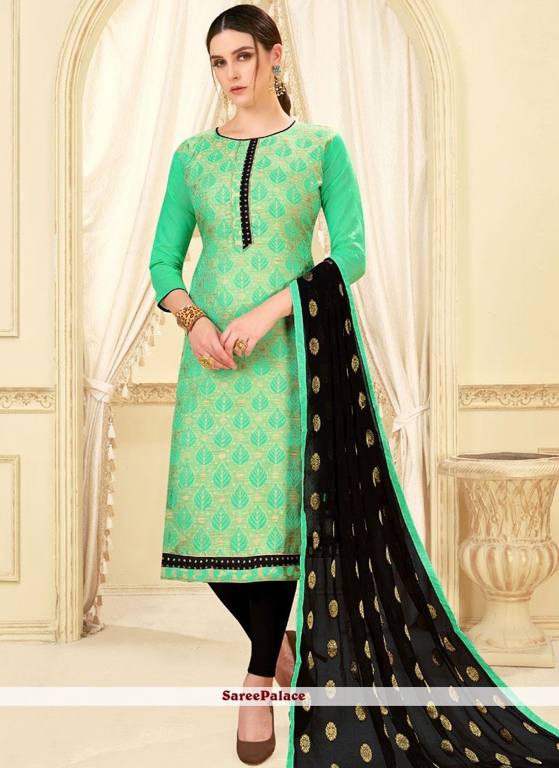 Sea Green Weaving Art Silk Churidar Suit