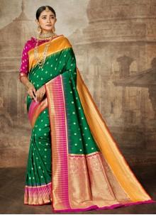 Sea Green Weaving Contemporary Saree