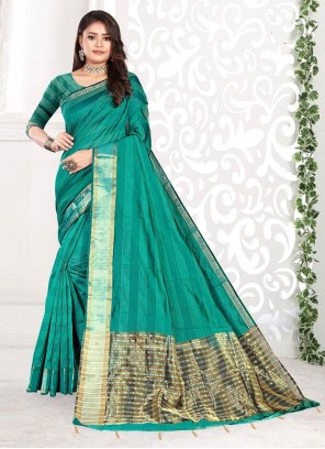 Sea Green Weaving Cotton Classic Saree