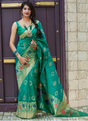 Sea Green Weaving Designer Contemporary Style Saree