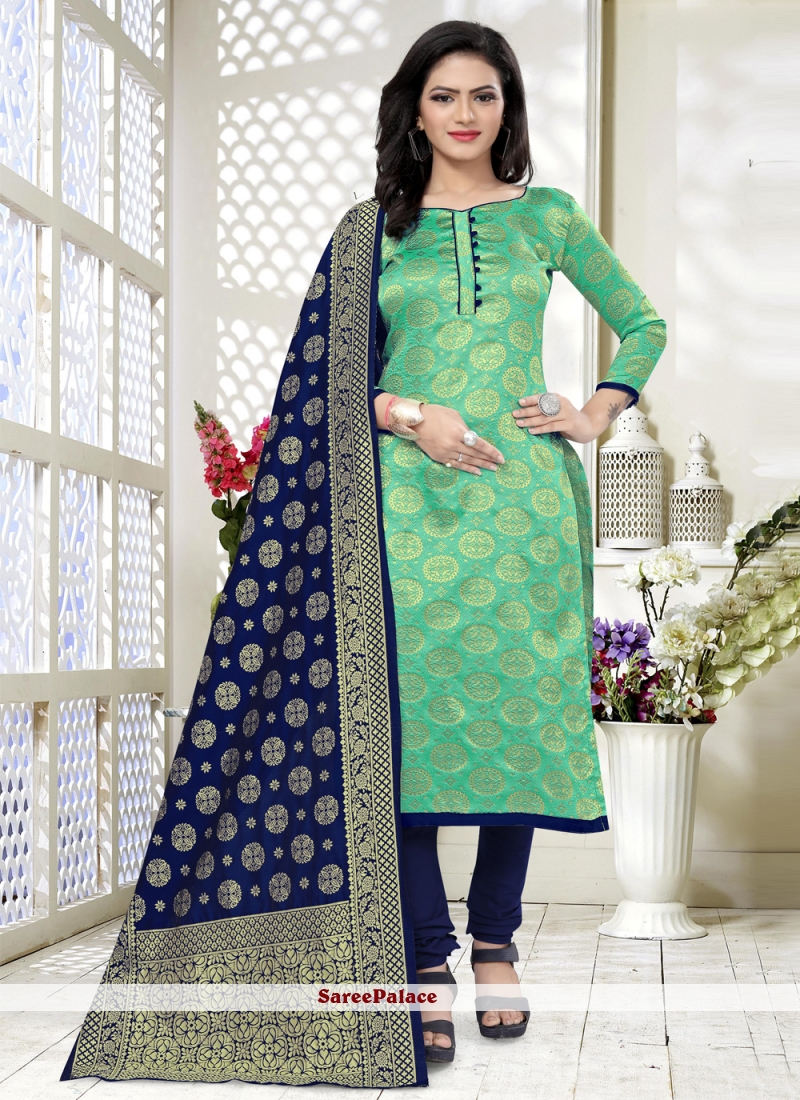 Sea Green Weaving Festival Churidar Designer Suit