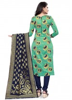 Sea Green Weaving Festival Churidar Salwar Suit