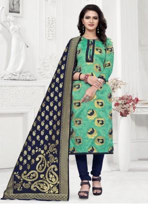 Sea Green Weaving Festival Churidar Salwar Suit