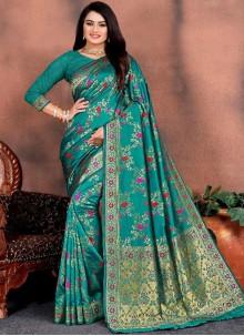 Sea Green Weaving Festival Silk Saree