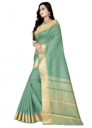 Sea Green Weaving Zari Work Traditional Saree