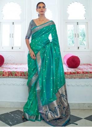 Sea Green Weaving Traditional Saree