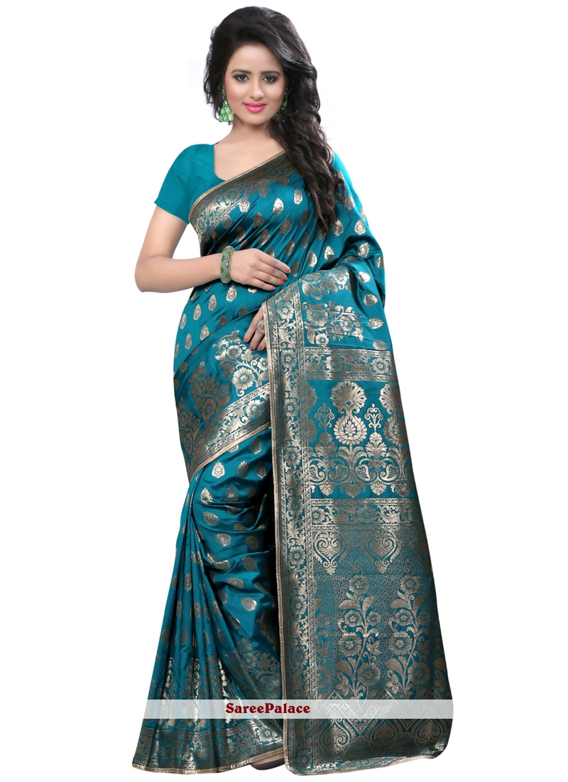 Sea Green Weaving Work Art Silk Traditional Designer Saree