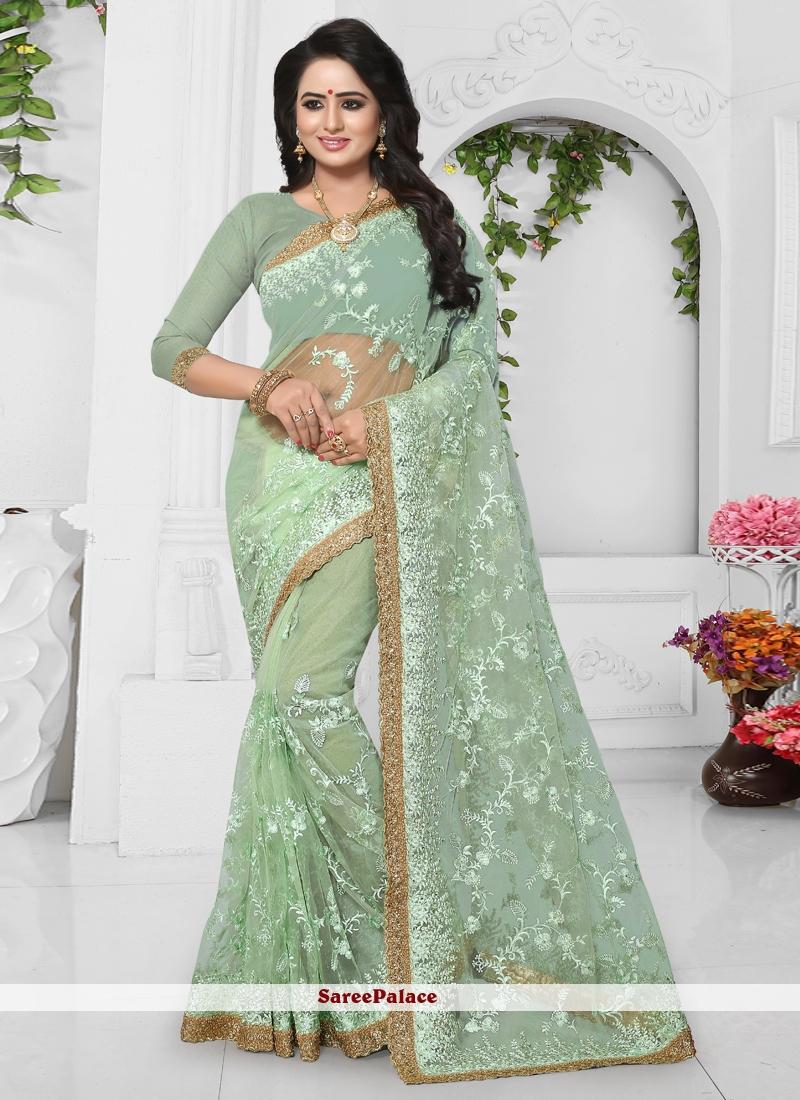 Sea Green Wedding Net Classic Designer Saree