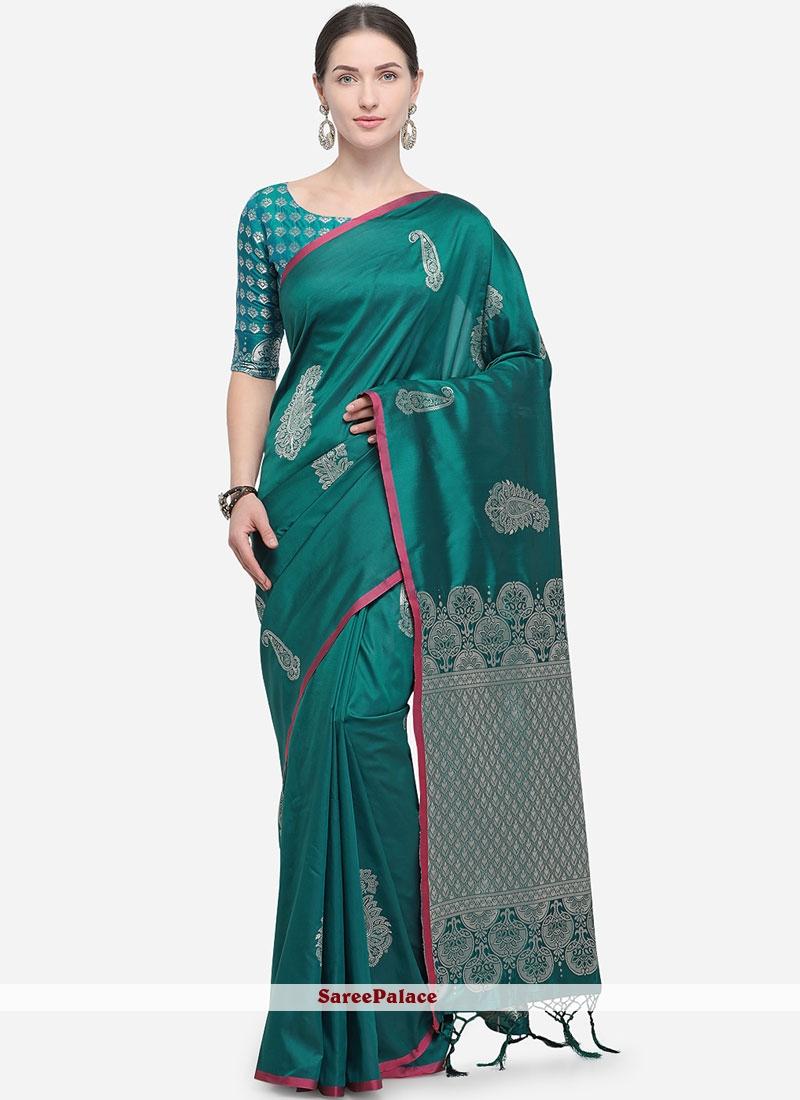 Sea Green Woven Designer Traditional Saree